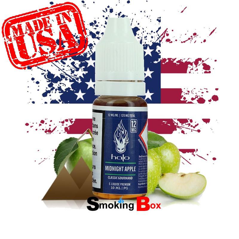 E-liquide US HALO Midnight Apple, tabac classic blond fruité au pomme doux et juteux avec une vape américain pour ecig.