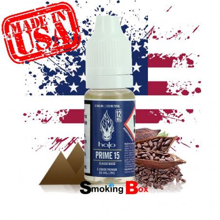E-liquide Prime 15 HALO us saveur tabac classic fin raffiné blond seche intense cacao américain cigarette electronique.