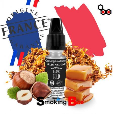 Arome et liquide bio tabac gold au sel de nicotine - conceptarome - gros fumeur et moins de hit en gorge.