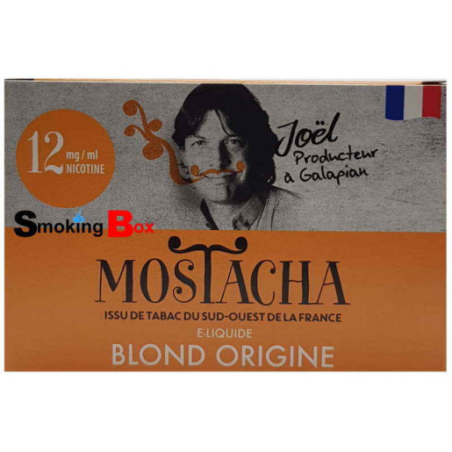 E-liquide Mostacha - BLOND ORIGINE Tabac du sud-ouest de la france - Joel producteur à Galapian