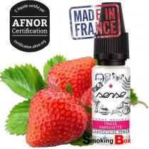 E-liquide fraise gariguette, sense phodé, mûr et sans sucre ajouté. E-liquide français Afnor, pas cher, buraliste.