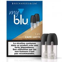 Recharge capsule CAFÉ LATTE - Myblu UK - sans fuite - Traçabilité garantie