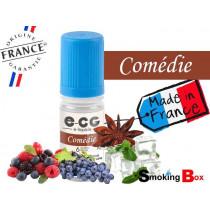 E-liquide COMÉDIE SIGNATURE E-CG, SAVEUR FRUITS ROUGES, RAISIN, ANIS ET MENTHOLE POUR VAPE FRAICHEUR AVEC MOD BOX.