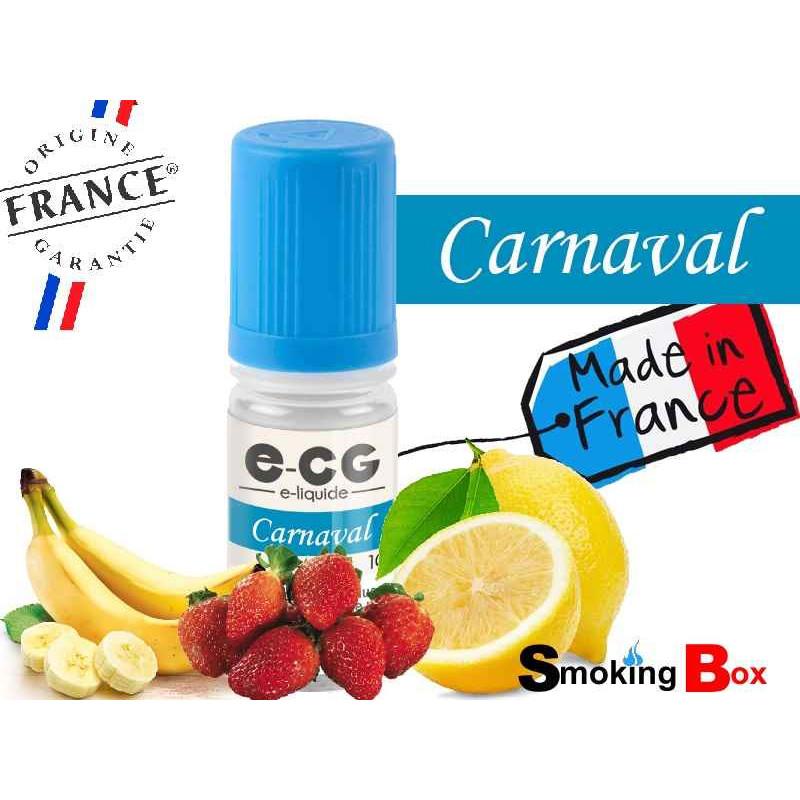 E-liquide CARNAVAL SIGNATURE E-CG, SAVEUR BANANE ET FRAISE POUR CEUX QUI AIME LE CÖTÉ SUCRE ET ACIDE POUR UNE VAPE QUI RÉVEILLE.