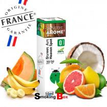 E-liquide Heaven Spot, saveur banane, agrumes, noix de coco et melon frais. Production Française, label Origine France Garantie.