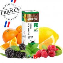 E-liquide Blaze au saveur d'orange, citron, framboise, mure, fraicheur menthe. E-liquide premium fabriqué en france, pas cher.