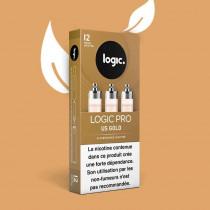 Cartouche logic pro parfum tabac US gold, garantie sans fuite pour votre cigarette électronique, pas cher.