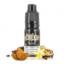 E-liquide relax premium de chez e-liquid france, saveur tabac blond, vanille, biscuit cookies parfum café, pas cher.