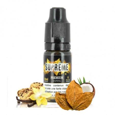 E-liquide suprême premium de chez e-liquid france, saveur tabac blond, vanille, biscuit cookies parfum noix de coco, pas cher.