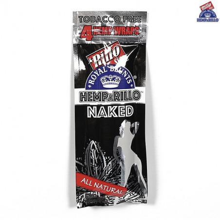 NAKED (Chanvre naturel) Hemparillo Blunt au feuille de chanvre (Hemp) Royal Blunts - Blunt sans tabac - (4 x feuilles)